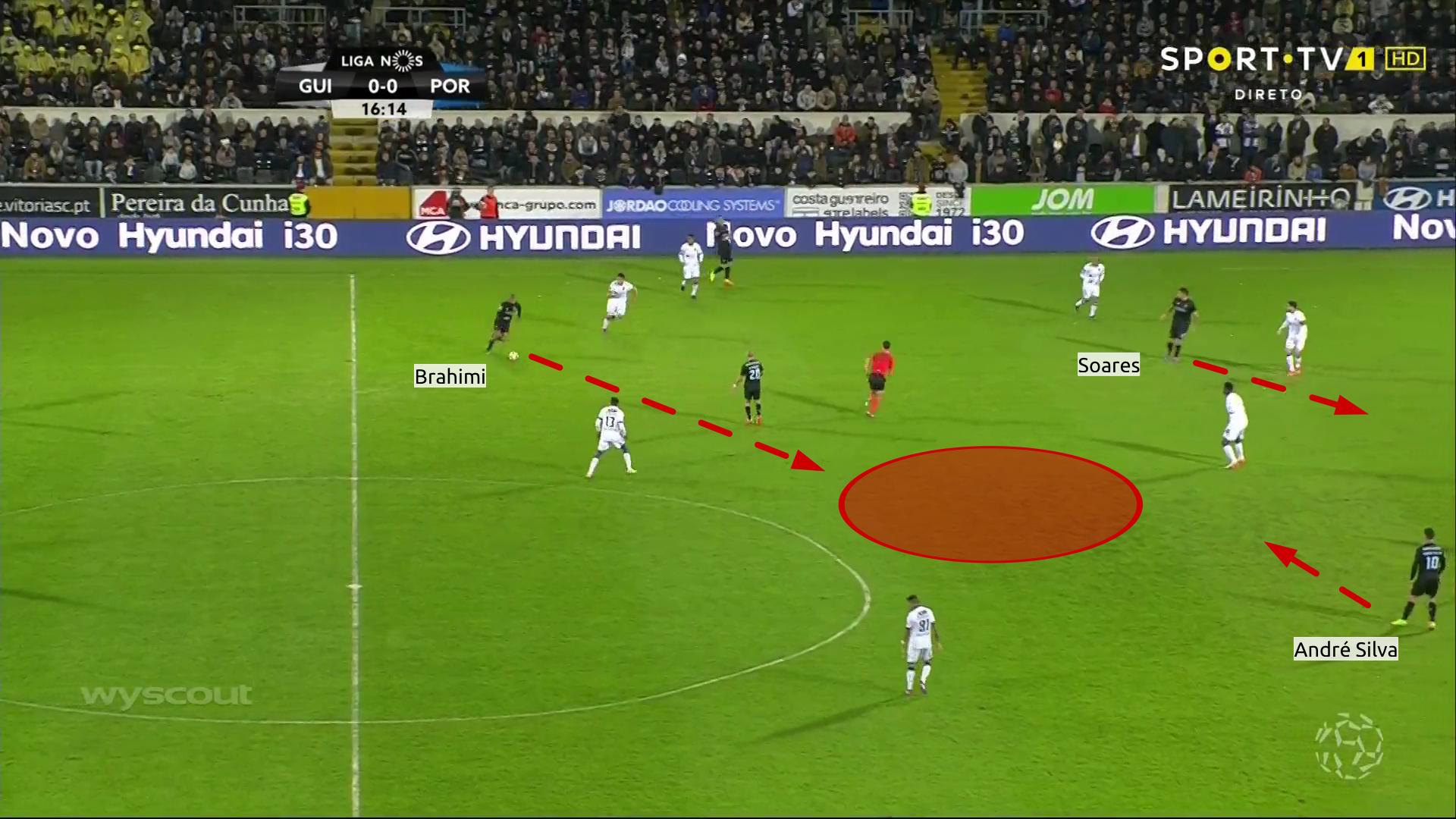 Brahimi attacca lo spazio di fronte a sé, attirando i giocatori avversari, in modo tale da creare spazio ad André Silva per ricevere palla e servire Soares sulla corsa.
